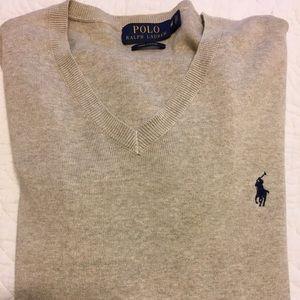 NWOT! Polo Ralph Lauren Oatmeal VNeck Sweater M